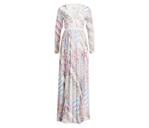Pure Silk Printed Maxi Dress - weiss