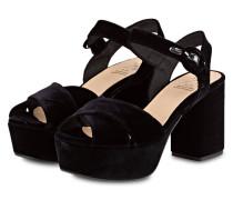 Plateau-Sandalen aus Samt - schwarz