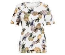 T-Shirt ANANAS - weiss/ schwarz/ braun