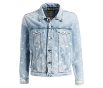 Destroyed-Jeansjacke - blau