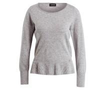 Pullover mit Schößchen - grau meliert