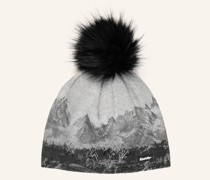 Mütze DRAW LUX CRYSTAL mit Kunstpelzbommel
