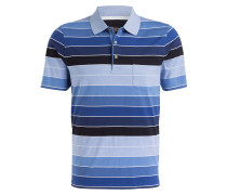 Jersey-Poloshirt - blau/ hellblau/ weiss
