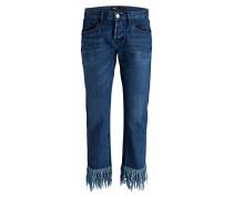 Cropped-Jeans FRINGE - lima blue