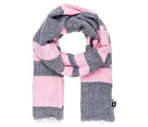 Schal mit Leinenanteil - pink/ navy/ weiss