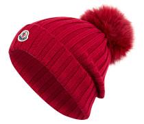 Mütze mit Pelzbommel - rot