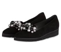Slipper CREMARA mit Perlenbesatz - schwarz