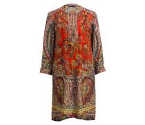 Kleid mit Seidenanteil - rot/ orange/ gelb
