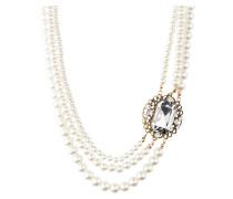 Perlenkette ANTOINETTE - weiss/ gold
