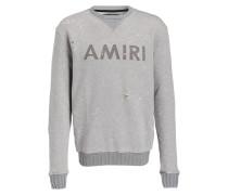 Destroyed-Sweatshirt - grau meliert