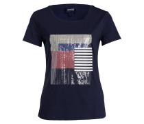 T-Shirt mit Paillettenbesatz - marine