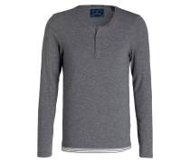 Henley-Shirt - grau meliert