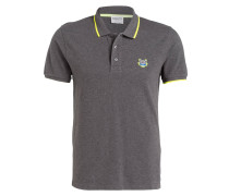Piqué-Poloshirt - dunkelgrau/ neongelb