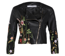 Jacke in Leder-Optik - schwarz/ grün/ rosa