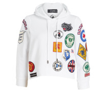 Hoodie mit Patches - weiss
