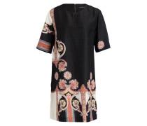 Seiden-Kleid - schwarz/ pink/ gelb