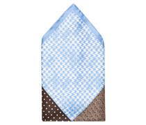 Einstecktuch - hellblau/ braun/ weiss