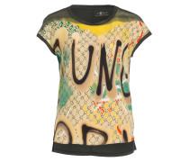 T-Shirt im Materialmix - oliv/ beige/ gelb