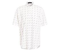 Halbarm-Hemd - weiss/ schwarz