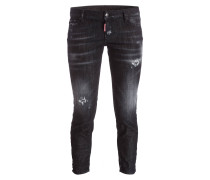Cropped-Jeans - schwarz