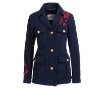 Jacke mit Stickereien - navy