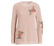 Pullover mit Stickereien - rose