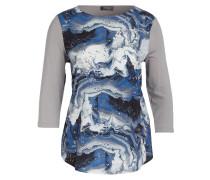 Jersey-Shirt - hellgrau/ blau