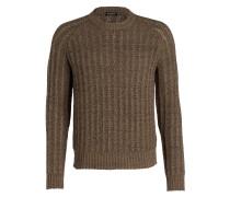 Grobstrick-Pullover - braun