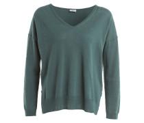 Pullover mit Leinenanteil - oliv/ offwhite