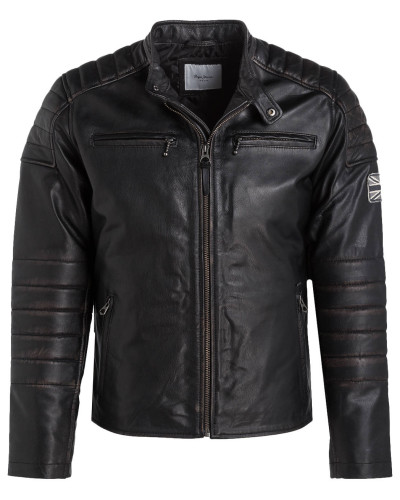 pepe jeans herren lederjacke paul im biker stil reduziert. Black Bedroom Furniture Sets. Home Design Ideas