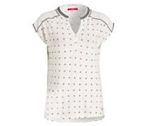 T-Shirt mit Leinenanteil - weiss
