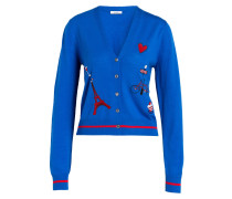 Cardigan mit Patches - royal