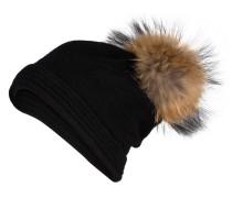 Cashmere-Mütze mit Pelzbommel - schwarz