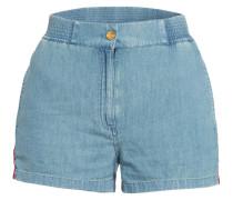 Jeans-Shorts mit Leinen