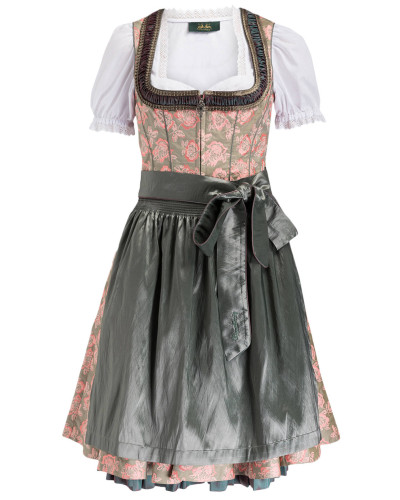 Dirndl CARRIE - weiss/ oliv/ rosa