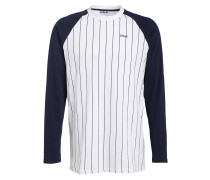 Langarmshirt im Baseball-Stil - weiss
