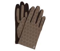 Lederhandschuhe - mocca/ dunkelbraun