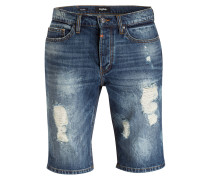 Destroyed-Jeans-Shorts - deep sky blue