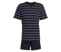 Shorty-Schlafanzug - dunkelblau