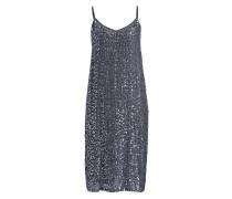 Kleid mit Pailettenbesatz - blaugrau