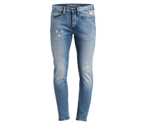 Destroyed-Jeans BOLT Skinny-Fit - blau