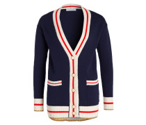 Strickjacke - navy/ ecru/ rot