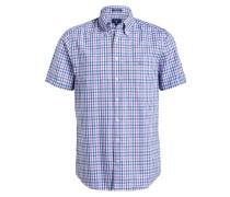 Halbarm-Hemd Regular-Fit - flieder/ blau