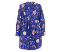 Blusenkleid aus Seide - royal/ lachs