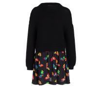 Kleid im Materialmix - schwarz
