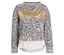 Sweatshirt mit Animal-Print - taupe/ gold