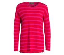 Strickpullover - rot/ pink gestreift