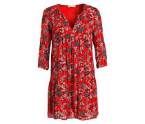 Kleid EVE mit 3/4-Arm - rot/ grau