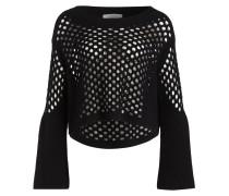 Pullover mit Lochmuster - schwarz