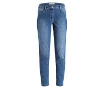 Jeans mit Patches - middle blue denim
